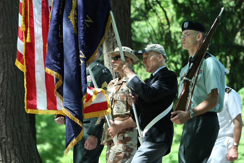 From left: Oleh Dutkewych, Fred Hincliffe, and John McClure lead the Memorial Day Parade through Bellevue Cemetary.
