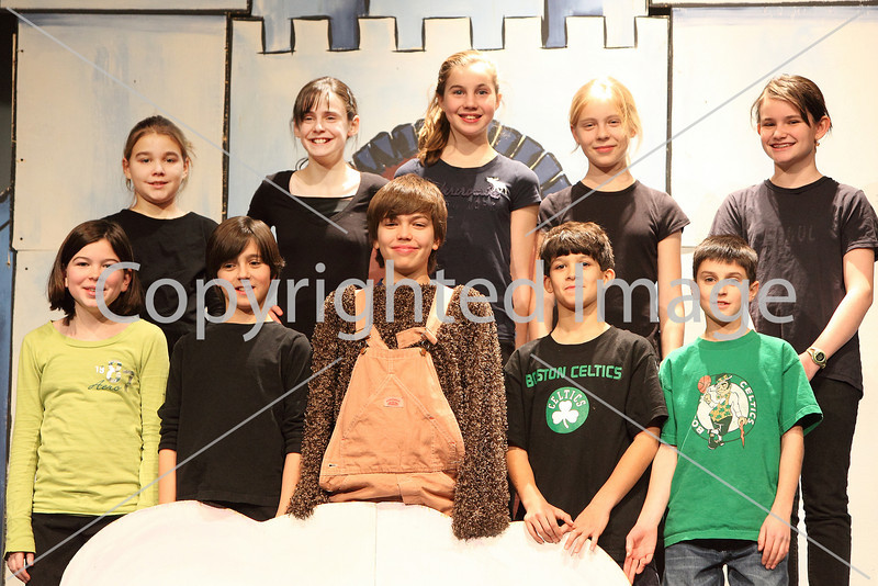 The cast of The Phantom Toll Booth. Front row, from left: Kathleen Clem, Josh Marinelli, Ben Neville, Joey D'Amore, Tristan Cronin. Back row, from left: Sarah vande Vaart, Ally Cronin, Meghanne Fitzsimmons, Lily Moore-Eissenberg, and Emma Kenny-Pessia.