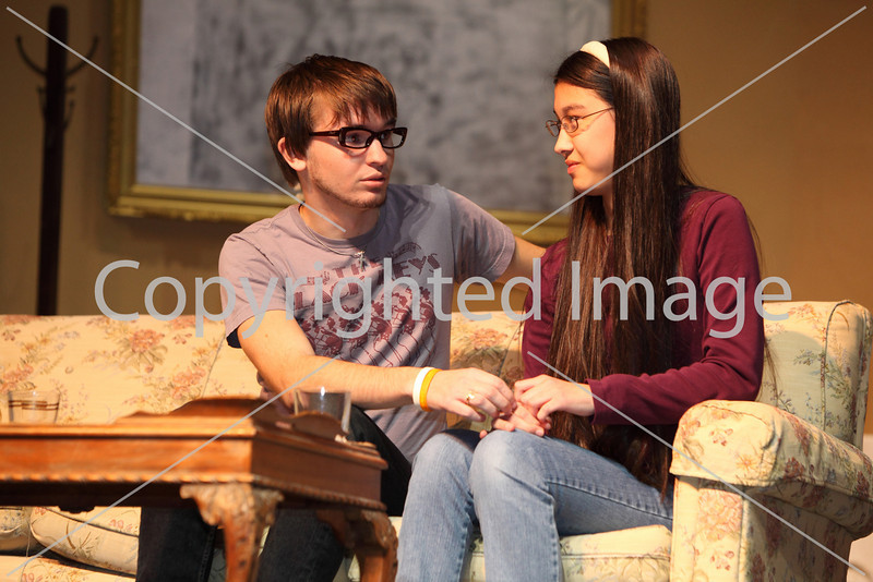 Tyler Borton(left)  plays a famous Hollywood producer meeting up with a former girl friend, played by Stacey Fair, in Plaza Suite. (Photo by Lisa Aciukewicz)