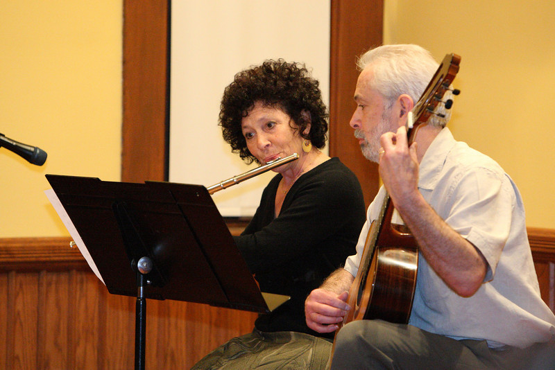 Claire Rindenello and Steve Abrams peform at the talent show held in Volunteers Hall last weekend. (Photo by Lisa Aciukewicz)
