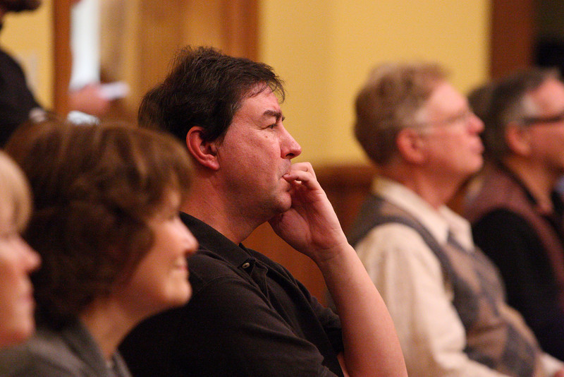 Gerry Hall listens to his daughter's performance at the talent show held in Volunteers Hall last weekend. (Photo by Lisa Aciukewicz)