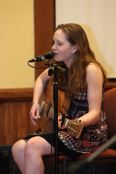 "Ashley Jordan peforms the Beatle's ""Let it Be"" at the talent show held in Volunteers Hall last weekend. (Photo by Lisa Aciukewicz)"