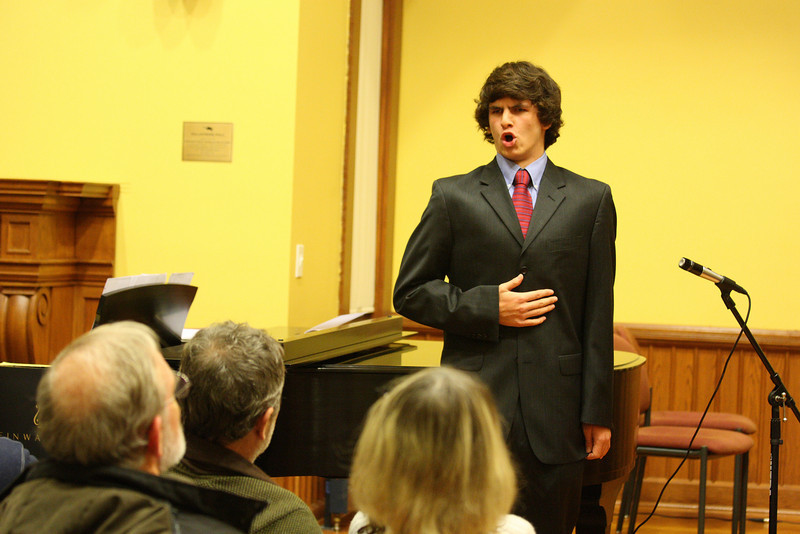 Tyler Alderson performs Non Piu Andrai from Le Nozze di Figaro as part of a Thanksgiving concert held in Volunteers Hall. (Photo by Lisa Aciukewicz)