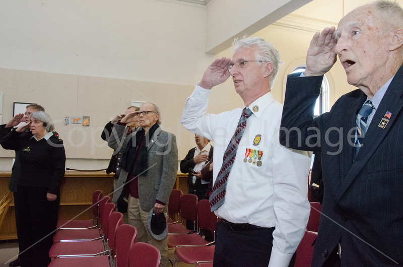 Steven Cronin, Nancy Cronin, (need name for middle guy) Don Green, Pete Johnston on Right saying the pledge of allegiance