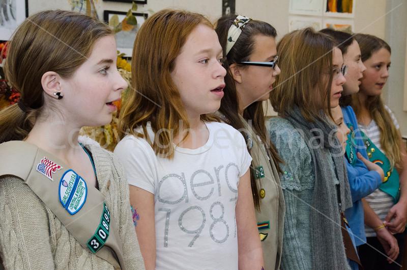 Brianna Schmoyer, Shea Oldham, Bridget Kennedy, Tessa McClain, Ella Richards, Lucy Richards, and Arianna Thornton singing God Bless America