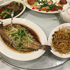 Steamed Fish with Soy Sauce and Braised Noodles.