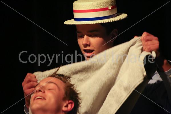 Sam Hayes drys Jamie Barretts hair before cutting it.