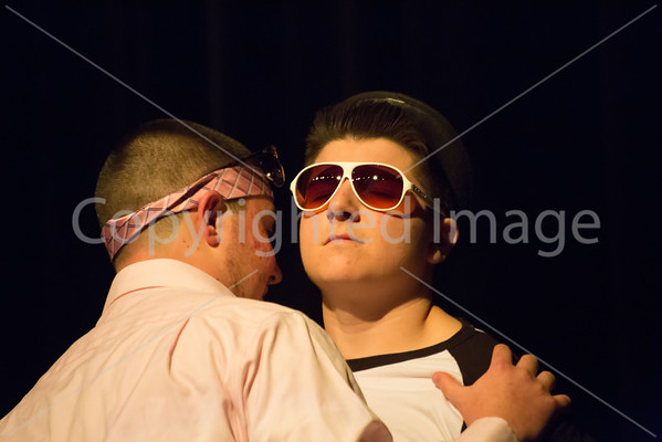 James Sturtz sings into Mikey Brockmanns ear during their joint lipsync preformance.