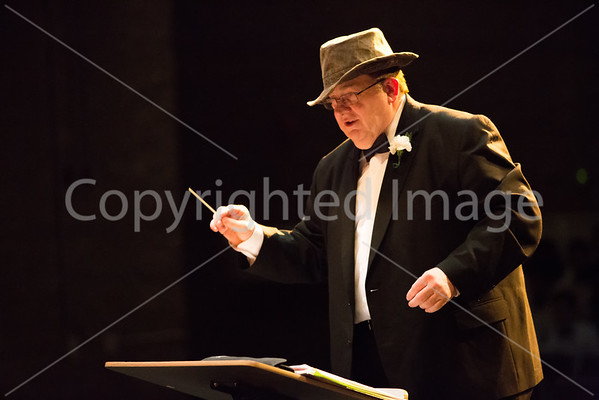 """Tom Reynolds wears a Indiana Jones hat for """"Raders March"""" from """"Raiders of the Lost Ark"""" preformed by the sixth grade concert band."""