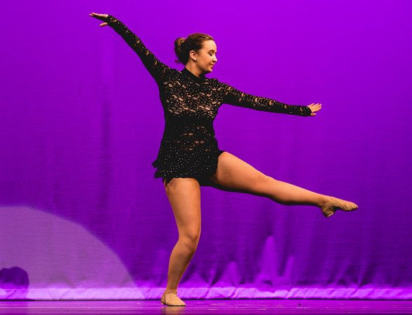 Harvest Homecoming queen contestant Lauren McNeeley performs a self-choreographed jazz dance.