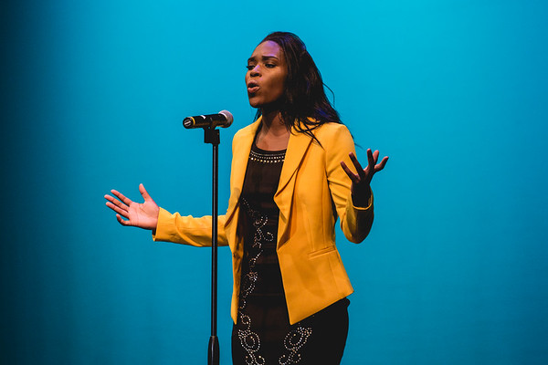 """Harvest Homecoming queen contestant Makayla Collier performs the poem """"Phenomenal Woman"""" by Maya Angelou."""