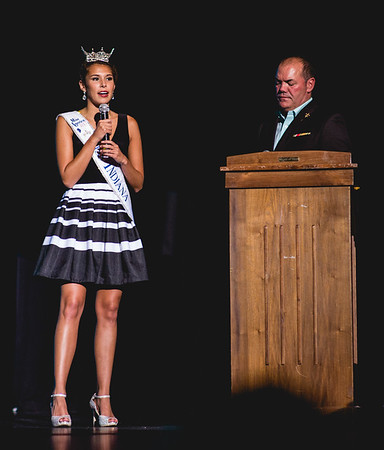 Miss Indiana Haley Begay talks about loving her job as a pageant queen during the Harvest Homecoming pageant on Saturday.