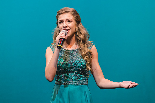 2017 Miss Harvest Homecoming Outstanding Teen, Meg Edwards, performs a song from the television show Glee.
