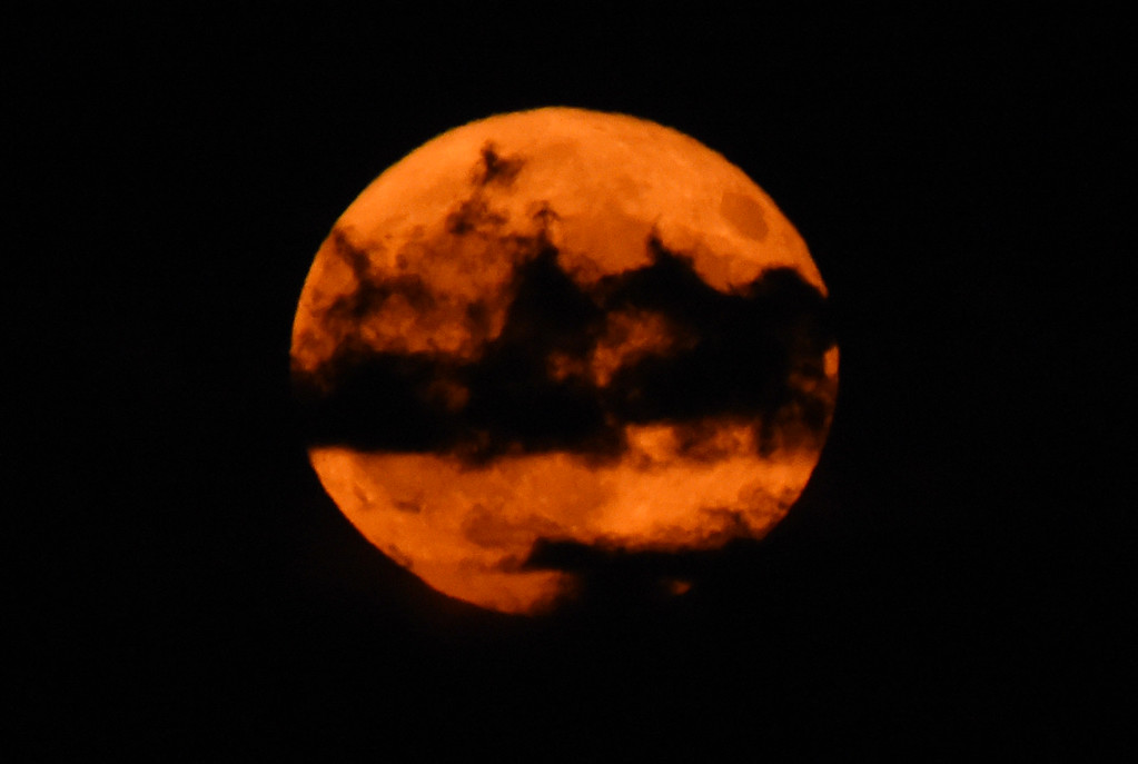 . Clouds pass over the harvest moon as seen from Legion Park in Boulder, Colorado. Cliff Grassmick  Staff Photographer October 5, 2017