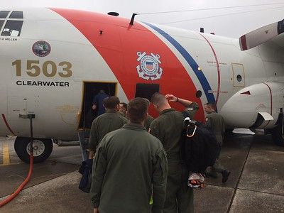 Six Humboldt Bay Coast Guard crew members get on a plane in order to help rescue efforts in Texas in the wake of Hurricane Harvey in late August. (Lt. Derek Schramel  - Contributed)