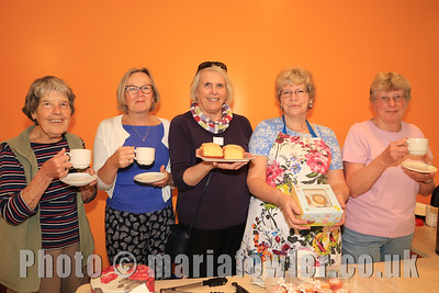 L-R: Elizabeth Walters, Kath Male, Sheena Parsons, Kathy Johnson and Aileen Farnell. (Harwich & District Fellowship for the Sick)