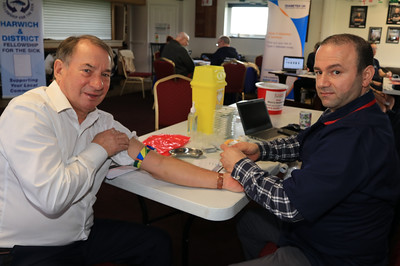 20 FEB 2020 – PICTURED L-R: Steve Webb and Abdul Joumah - CHAPS Men's Health Day (Harwich) at Harwich & Dovercourt Rugby Club - Sponsored by Harwich & District Fellowship for the Sick – Photo Copyright © Maria Fowler 2020