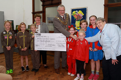 Harwich & District Guides with L-R: Mayoress Mrs Carol Brown, Mayor Cllr John Brown with Debbie England and (Harwich & District Guides)