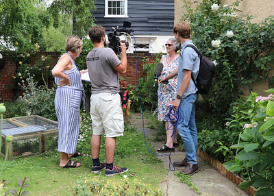 06 JUL 2019 – Harwich Secret Gardens – Kings Head Street – Pictured: 'Bruizer' film crew with Deborah Rich (HSG) and Fiona Brunning (HHA),  - Photo Copyright © Maria Fowler 2019