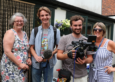06 JUL 2019 – Harwich Secret Gardens – Kings Head Street – Pictured: Deborah Rich (HSG) 'Bruizer' film crew and Fiona Brunning (HHA),  - Photo Copyright © Maria Fowler 2019