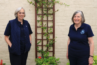 10 JUL 2021 – Pictured: Secret Gardeners Marion Ball & Jacky Whittle, The Harwich Society, Sam and Andy's Garden, Foresters, Church Street - Harwich Secret Gardens – Photo © Maria Fowler 2021
