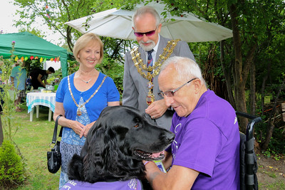 Mayoress Dee King, Mayor of Harwich Cllr Dave McLeod with Barry O'Connell and 'Canine Partner' Guy.