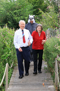04 AUG 2019 – Pictured: Mr. Badger (AKA Colin Farnell, Chairman, Harwich Society) Cllr. Alan Todd, Mayor of Harwich and Mrs. Sylvia Todd, Mayoress of Harwich - Bobbit's Hole Open Day & Charity Stroll – Photo Copyright © Maria Fowler 2019