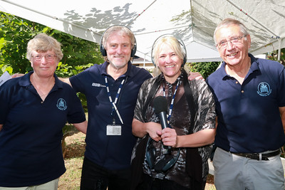 05 AUG 2018 – Aileen Farnell (Harwich Society Membership Sec) Barry Lewis (BBC Essex) , Liana Bridges (BBC Essex) and Colin Farnell (Harwich Society Chairman) - Harwich Society Bobbit's Hole Open Day and Charity Stroll - Photo Copyright © Maria Fowler 2018