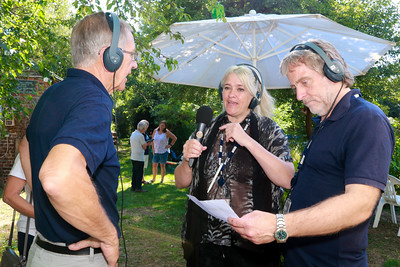 05 AUG 2018 - Colin Farnell (Harwich Society Chairman) Liana Bridges (BBC Essex) and Barry Lewis (BBC Essex)  - Harwich Society Bobbit's Hole Open Day and Charity Stroll - Photo Copyright © Maria Fowler 2018