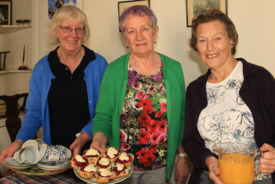 Cream teas at the Harwich Society's headquarters, Foresters. Pictured Chris Mackie, Anna Rendell-Knights and Shirley Warner,.