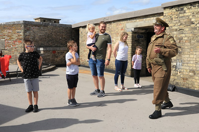 12 SEP 2020 – Pictured L-R:  Harry Cooper, Archie Ford-Firman, Paisley Cooper, Joshua Ford, Briony Falkner, Olivia Ford-Firman and Simon Todd (WW2 Reenactor)  - Harwich Redoubt Fort – Heritage Open Days – Photo Copyright © Maria Fowler 2020