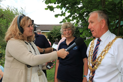 01 AUG 2021 – PICTURED: Liana Bridges (BBC Essex Quest) with Cllr. Ivan Henderson (Mayor of Harwich) - Bobbit's Hole Open Day & Charity Stroll – Photo Copyright © Maria Fowler 2021