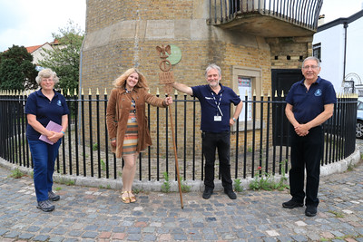 04 JUL 2021 – PICTURED L-R: Aileen Farnell (Membership Sec, Harwich Society), Liana Bridges (BBC Essex), Barry Lewis (BBC Essex), and Colin Farnell (Chairman, Harwich Society) – BBC Essex Quest at the High Lighthouse, Harwich – Photo Copyright © Maria Fowler 2021