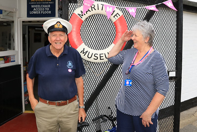 11 SEP 2021 – PICTURED: Harwich Society volunteers Phil Parker and Nikki Leeds - Low Lighthouse, Maritime Museum – Heritage Open Days weekend - Photo Copyright © Maria Fowler 2021
