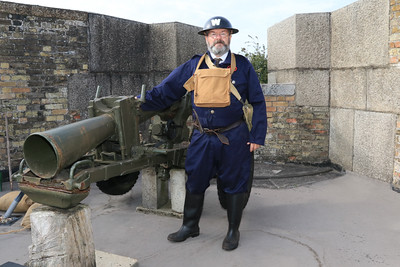 12 SEP 2021 – PICTURED: WW2 Reenactor, Tony Johnson (ARP Warden) - Harwich Redoubt Fort - Heritage Open Days weekend - Photo Copyright © Maria Fowler 2021