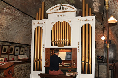 12 SEP 2021 – PICTURED: Harwich Society volunteer Dan Beck, St. Gabriel & St. Paul's Memorial Pipe Organ - Harwich Redoubt Fort - Heritage Open Days weekend - Photo Copyright © Maria Fowler 2021