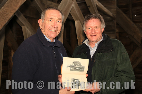 Colin Farnell (Chairman, Harwich Society) and Simon Buteux (Historic England) inside the Treadwheel Crane.