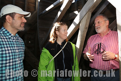Inside the Treadwheel Crane, Harwich Society volunteer Graham Crame (Right) explains the workings of the Treadwheel crane