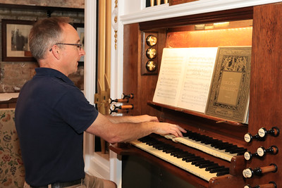 12 SEP 2020 – Pictured: Dan Beck (Redoubt Team Leader & Harwich Society Trustee) with the restored historic organ from St Paul's church, Parkeston - Harwich Redoubt Fort – Heritage Open Days – Photo Copyright © Maria Fowler 2020