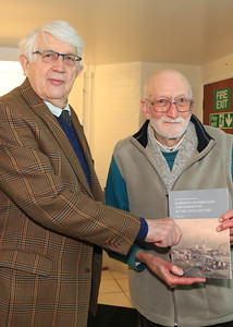 26 OCT 2019 – PICTURED L-R: Geoffrey Hare (Chairman, Victoria County History of Essex Trust) and Ray Plummer (Hon. Archivist, Harwich Town Council) - Harwich Society History Fair – 1912 Centre – Photo Copyright © Maria Fowler 2019