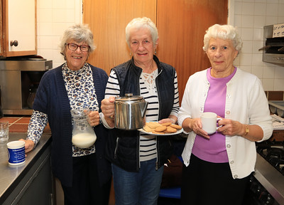 26 OCT 2019 – PICTURED L-R: Janet Thomas, Anna Rendell-Knights and Pam Lacey (Harwich Society Catering Crew)  - Harwich Society History Fair – 1912 Centre – Photo Copyright © Maria Fowler 2019