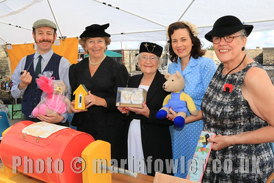 Richard Kemp-Luck, Margaret Coleman, Kath Meachen, Gemma Quinn and Chrissie Donegan from Dovercourt Theatre Group manning the Tombola stall.