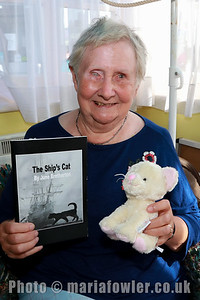28 AUG 2017 Harwich Society Storytelling Day at the Visitor Centre, Ha'Penny Pier. Pictured: Author and storyteller, June Bretherton