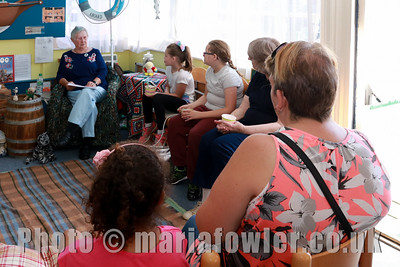 28 AUG 2017 Harwich Society Storytelling Day at the Visitor Centre, Ha'Penny Pier. Pictured: Storyteller and author June Bretherton.