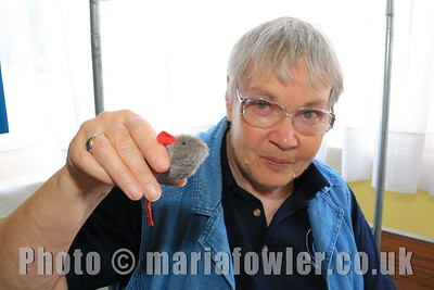 Storyteller Marian Heath with 'Septimus' the mouse.