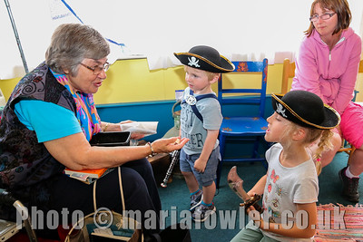 Storyteller Mary Lake with Stuart Barry (age 2) and Katy Barry (age 7)