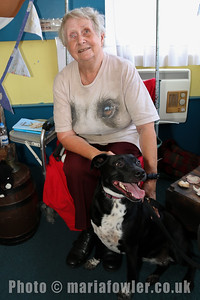 Storyteller, June Bretherton with her dog Mollie mentioned in many of June's stories