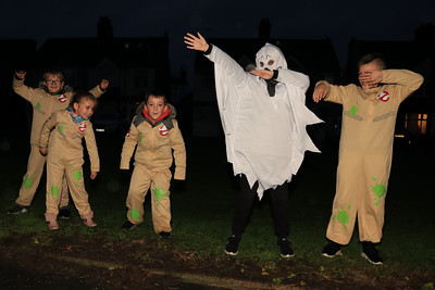 26 OCT 2019 – PICTURED L-R: Ghostbusters, Lewis Arnott, Bella Jones, Toby Davis, Bailey Arnott and Finley Jones - Harwich Guy Carnival 2019 – Photo Copyright © Maria Fowler 2019