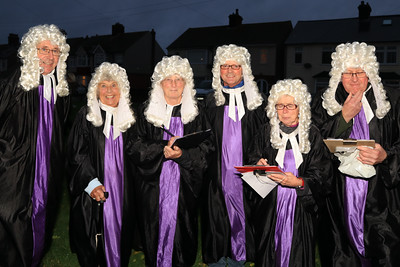 26 OCT 2019 – PICTURED L-R: The Judges, Colin Farnell, Betty Holbrook, Aileen Farnell, Evan Clackett, Cheryl Thompson and Colin Cheeseman- Harwich Guy Carnival 2019 – Photo Copyright © Maria Fowler 2019