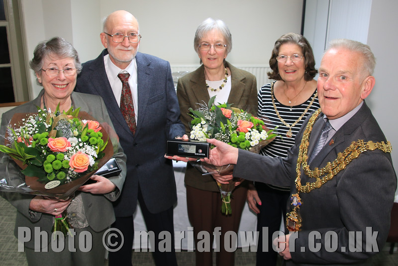 Pictured: Anne Kemp-Luck, Ray Plummer, Sam Plummer, Mayoress Sylvia Todd, Mayor Cllr Alan Todd